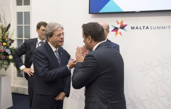 Il presidente del Consiglio, Paolo Gentiloni, al Vertice informale UE di Malta.