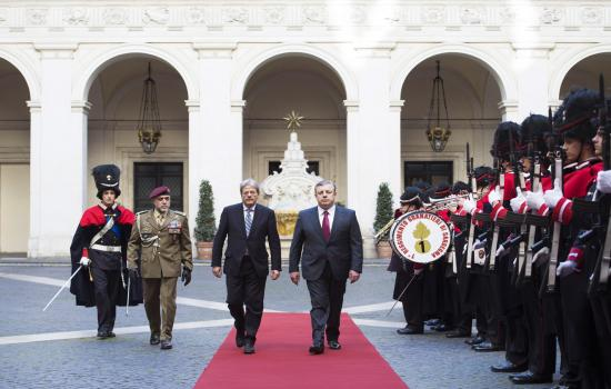 Gentiloni incontra il Primo Ministro della Georgia, Giorgi Kvirikashvili