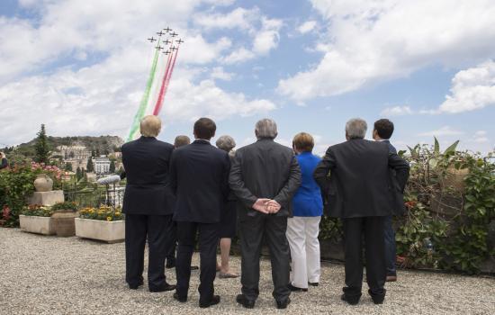 La Pattuglia Acrobatica Nazionale su Taormina in occasione del Summit G7