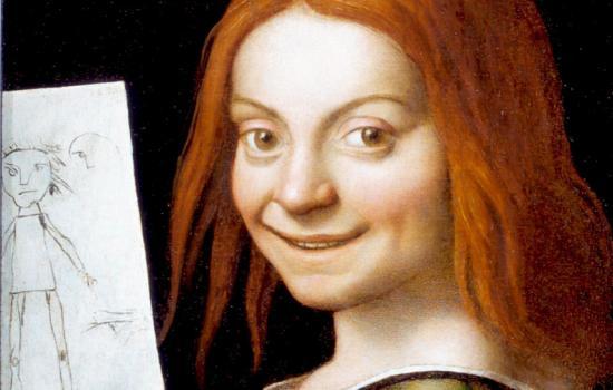 Giovanni Francesco Caroto-Ritratto di giovane con disegno infantile