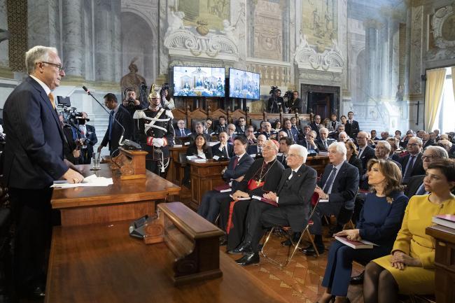 Il Presidente Conte durante la cerimonia