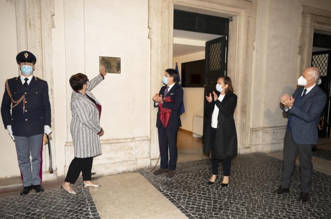 La targa che intitola  la Sala Dispositivo di Sicurezza delPresidente alla memoria di Giorgio Guastamacchia
