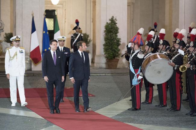 Il Presidente Conte accoglie il Presidente francese Macron a Palazzo Chigi