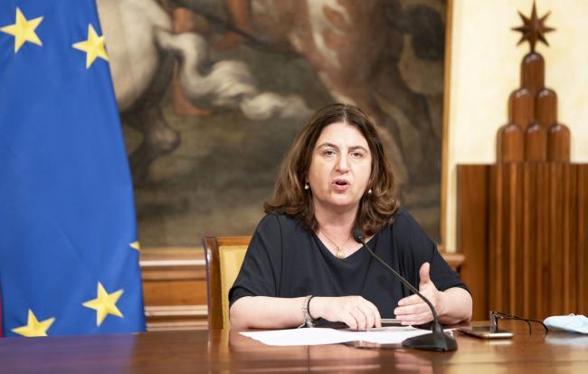 Il Ministro Catalfo in conferenza stampa al termine del Consiglio dei Ministri