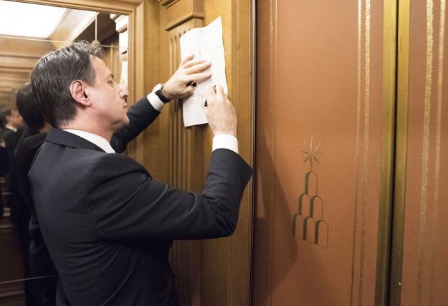 Palazzo Chigi, il Presidente Conte al termine del vertice sulla manovra economica