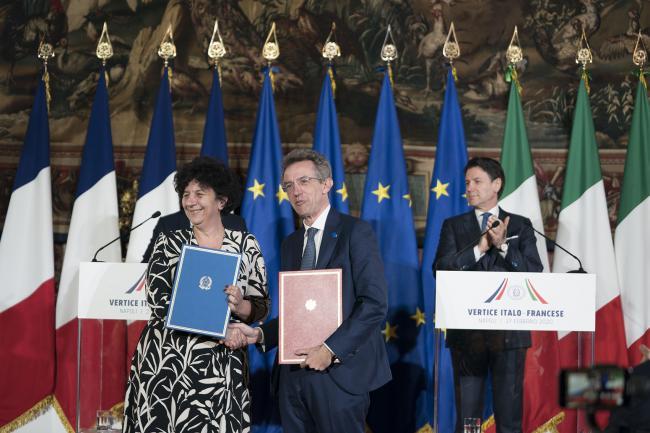 XXXV Vertice intergovernativo italo-francese, la cerimonia di scambio di intese