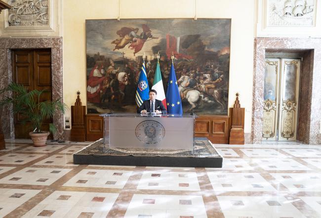 Il Presidente Conte in conferenza stampa al termine del Consiglio dei Ministri n. 37