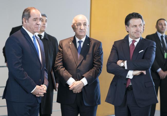 Il Presidente Conte con il Presidente Tebboune alla Conferenza di Berlino sulla Libia
