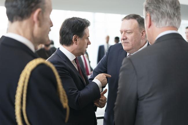 Il Presidente Conte con il Segretario di Stato USA Pompeoalla Conferenza di Berlino sulla Libia