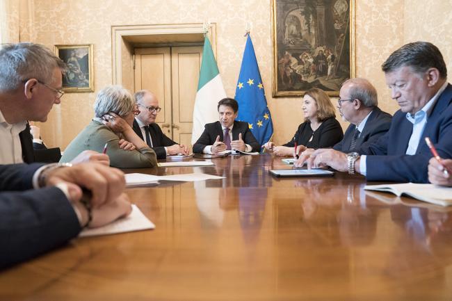 Conte incontra Cgil, Cisl e Uil a Palazzo Chigi