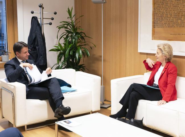 Consiglio europeo, incontro bilaterale Conte - von der Leyen