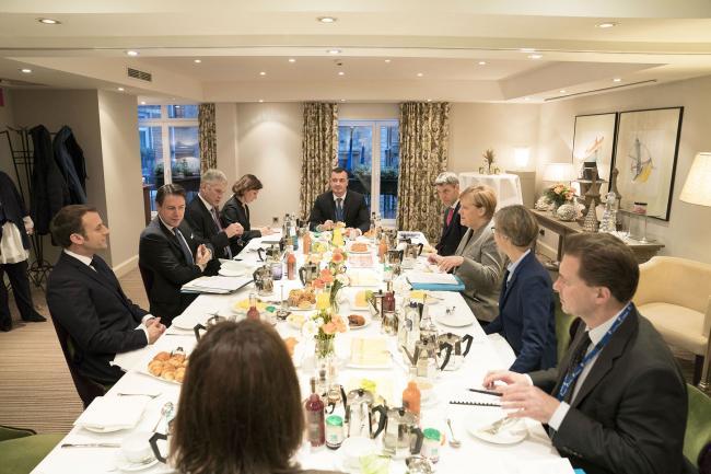 Conte con Merkel e Macron