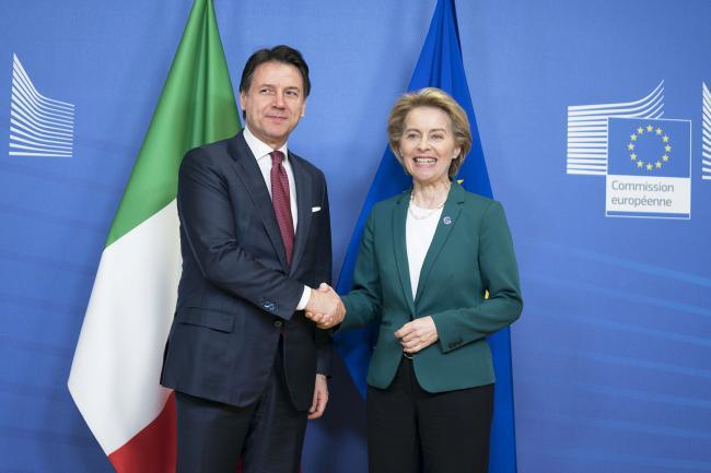 Bruxelles, Conte incontra la Presidente della Commissione europea von der Leyen
