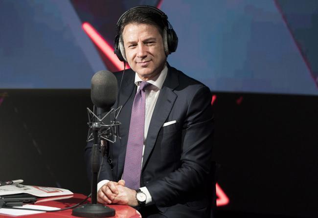 Il Presidente Conte negli studi di Roma di RTL 102.5