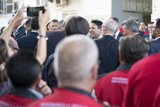 Il Presidente Conte all'inaugurazione di Valoridicarta SpA