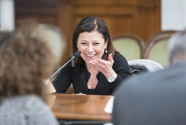 La Ministra delle Infrastrutture e dei Trasporti durante l'incontro tra Governo e sindacati su investimenti pubblici e Sud