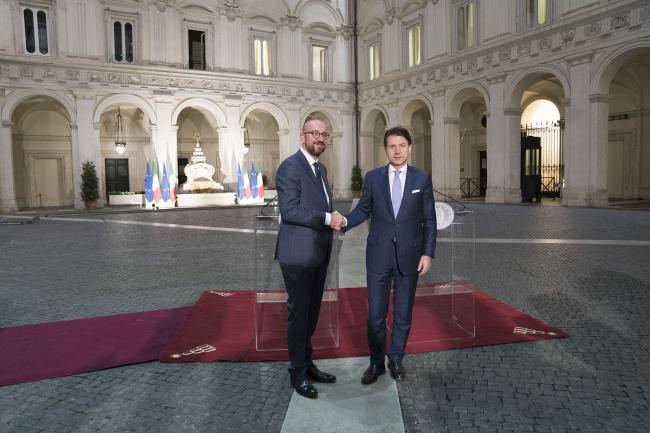 Il Presidente Conte con Charles Michel