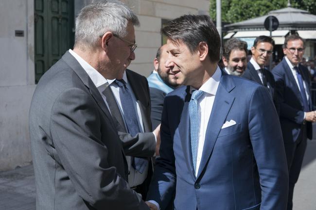"""""""Giornate del Lavoro 2019"""", il Presidente Conte è accolto dal Segretario generale CGIL Landini"""