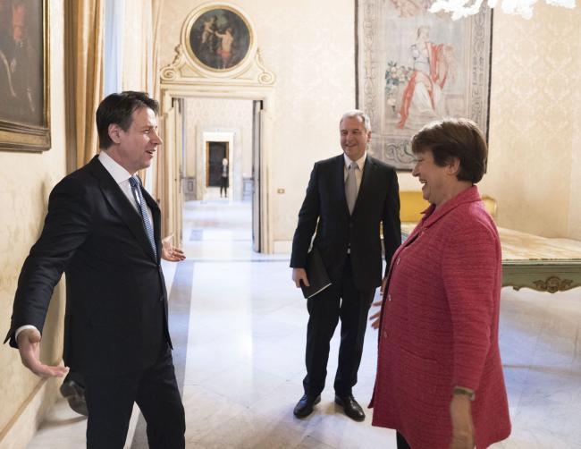 Il Presidente Conte incontra la Direttrice FMI Georgieva a Palazzo Chigi