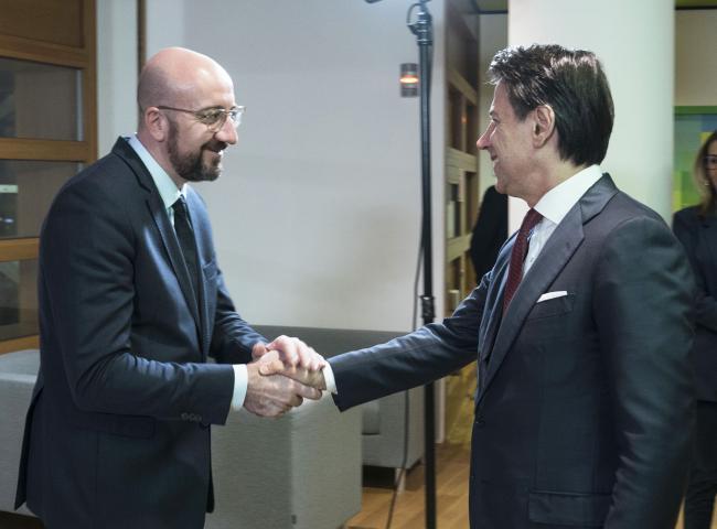 Bruxelles, Conte incontra il Presidente del Consiglio europeo Michel