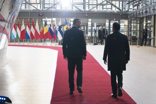 Il Presidente Conte al suo arrivo al Consiglio europeo