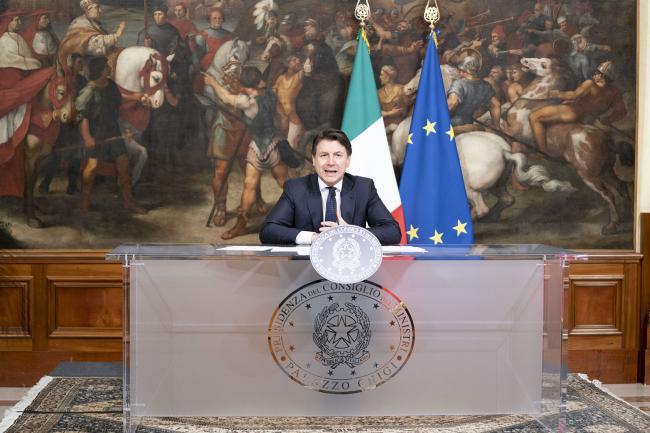 Il Presidente Conte in conferenza stampa a Palazzo Chigi