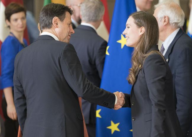 Consiglio europeo, il Presidente Conte con il Primo Ministro della Finlandia Marin