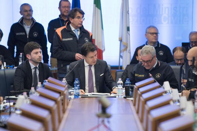 Conte e Speranza in riunione con il Comitato Operativo della Protezione Civile