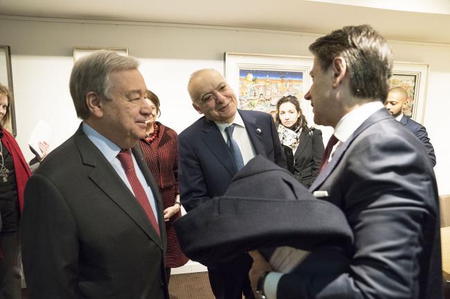Berlino, il Presidente Conte incontra Guterres e Salamè