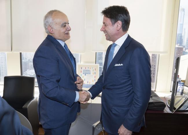 Il Presidente Conte con l'Inviato Speciale del Segretario Generale ONU per la Libia, Salamé
