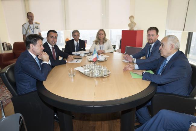 Il Presidente Conte e il Ministro Di Maio durante l'incontro con con l'Inviato Speciale del Segretario Generale ONU per la Libia, Salamé