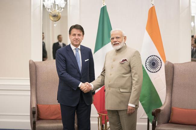 Il Presidente Conte con il Primo Ministro dell'India, Narendra Modi