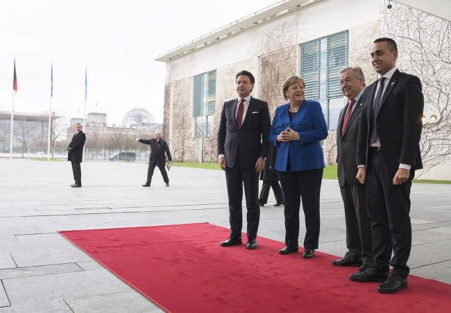 Berlino, il Presidente Conte e il Ministro Di Maio con la Cancelliera Merkel e il Segretario generale Onu Guterres