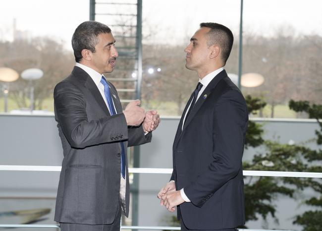 Il Ministro di Maio con il Ministro degli affari esteri degli Emirati Arabi Uniti alla Conferenza di Berlino sulla Libia