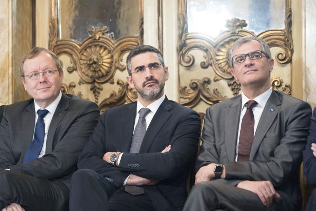 Il Sottosegretario alla Presidenza del Consiglio Fraccaro con il Direttore generale dell'Esa e il Presidente dell'Agenzia Spaziale Italiana