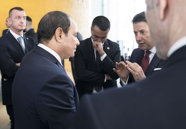 Il Presidente Conte e il Ministro Di Maio con il Presidente al Sisi alla Conferenza di Berlino sulla Libia