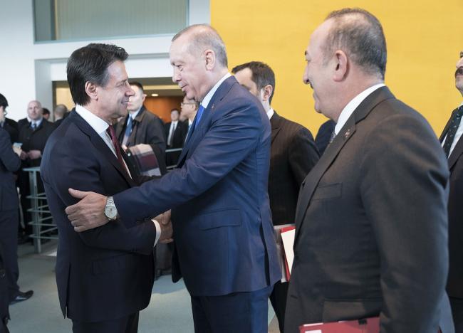 Il Presidente Conte con il Presidente della Repubblica di Turchia Erdoğan alla Conferenza di Berlino sulla Libia