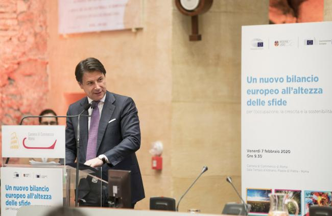 """Conte al convegno """"Un nuovo bilancio europeo all'altezza delle sfide"""""""