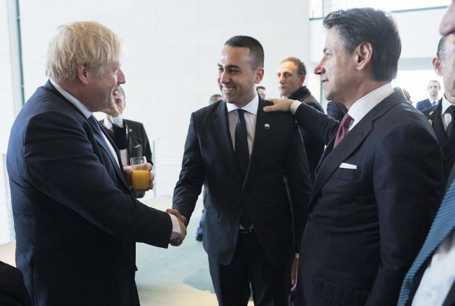 Il Presidente Conte e il Ministro Di Maio con il Primo Ministro Johnson alla Conferenza di Berlino sulla Libia