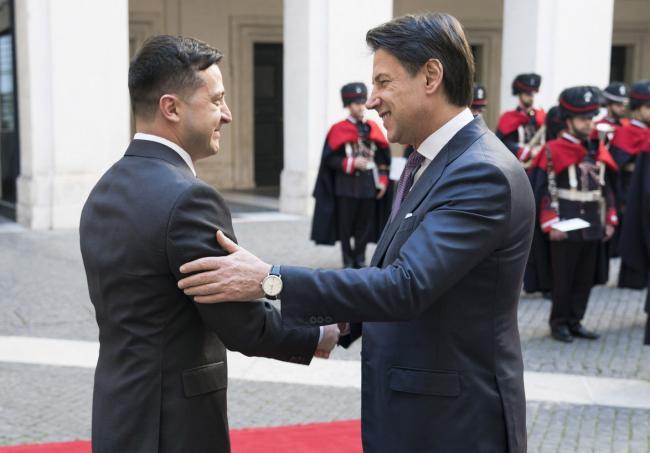 Conte riceve il Presidente ucraino Volodymyr Zelensky
