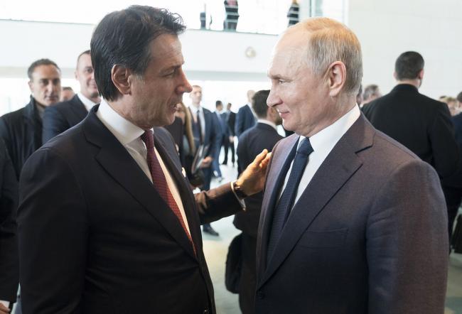 Il Presidente Conte con il Presidente Putin alla Conferenza di Berlino sulla Libia