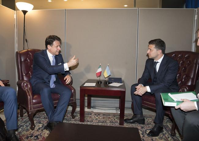 Il Presidente Conte con il Presidente dell'Ucraina, Volodymyr Zelensky