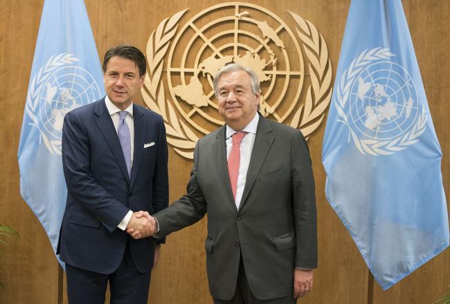 Il Presidente Conte con il Segretario Generale delle Nazioni Unite Guterres.