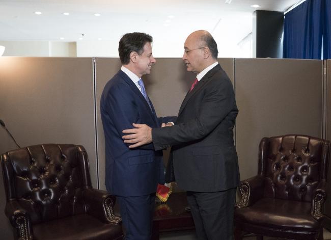 Il Presidente Conte con il Presidente della Repubblica dell'Iraq Barham Salih