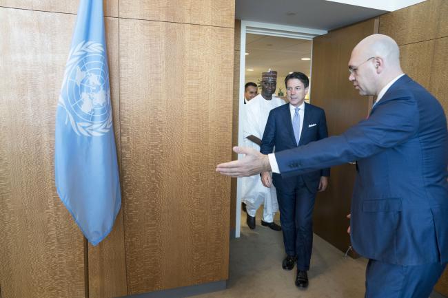 Il Presidente Conte con il Presidente dell'Assemblea Generale Tijjani Muhammad Bande