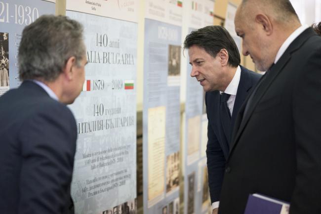 """Conte in visita alla mostra """"140 anni di relazioni diplomatiche tra Italia e Bulgaria"""""""