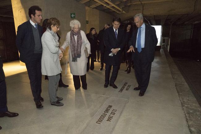 Conte al Memoriale della Shoah con la Senatrice Liliana Segre
