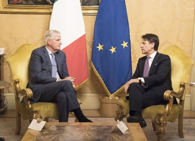 Il Presidente Conte incontra il Capo negoziatore dell'UE Barnier