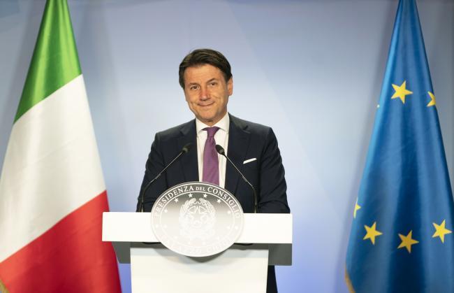 Il Presidente Conte in conferenza stampa  al termine del Consiglio europeo straordinario