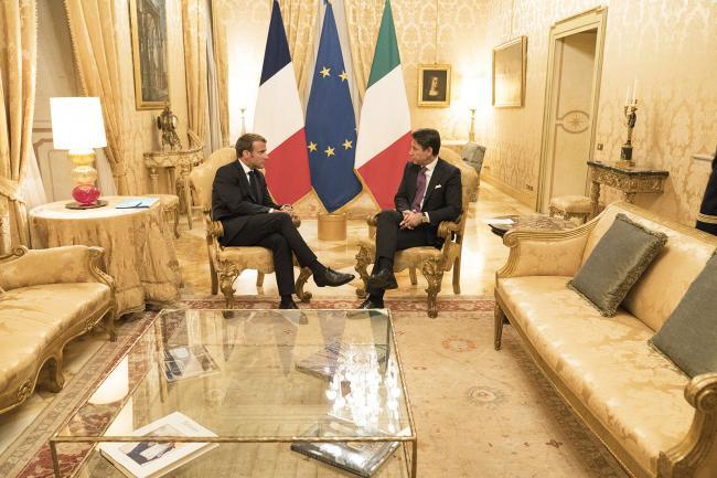 Il Presidente Conte incontra il Presidente francese Macron a Palazzo Chigi